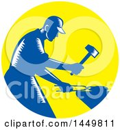 Clipart Graphic Of A Retro Blue And White Woodcut Blacksmith Worker Forging Iron In A Yellow Circle Royalty Free Vector Illustration