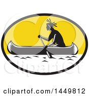 Clipart Graphic Of A Retro Black And White Woodcut Native American Indian Paddling A Canoe In A Yellow Oval Oval Royalty Free Vector Illustration