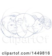 Clipart Graphic Of A Sketched Blue And White Drawing Styled Globe Of The Middle East With A Lion And Goat Royalty Free Vector Illustration