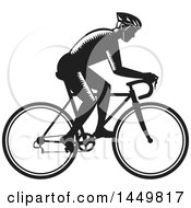 Clipart Graphic Of A Retro Black And White Woodcut Male Cyclist Riding A Bicycle Royalty Free Vector Illustration
