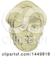 Clipart Graphic Of A Sketched Drawing Styled Turkish General Mans Face Royalty Free Vector Illustration by patrimonio