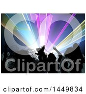 Clipart Graphic Of A Crowded Dance Floor Of Silhouetted People Under Lights Royalty Free Vector Illustration by dero