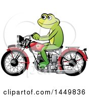Clipart Graphic Of A Happy Frog Riding A Red Motorcycle Royalty Free Vector Illustration by Lal Perera