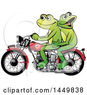 Happy Frog Couple Riding A Red Motorcycle