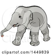 Clipart Graphic Of A Walking Baby Elephant Royalty Free Vector Illustration
