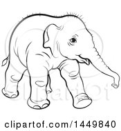 Clipart Graphic Of A Black And White Lineart Walking Baby Elephant Royalty Free Vector Illustration by Lal Perera