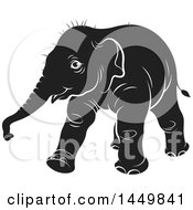 Clipart Graphic Of A Black And White Walking Baby Elephant Royalty Free Vector Illustration by Lal Perera