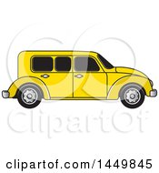 Clipart Graphic Of A Vintage Yellow Car Royalty Free Vector Illustration by Lal Perera