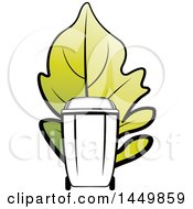 Clipart Graphic Of A Black And Hwite Yard Debris Trash Bin With A Giant Green Leaf Royalty Free Vector Illustration by Lal Perera