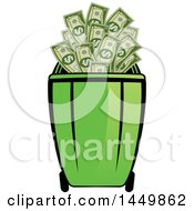 Clipart Graphic Of A Green Recycle Bin With Cash Money Royalty Free Vector Illustration by Lal Perera