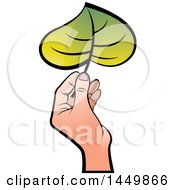Hand Holding A Green Leaf