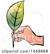 Clipart Graphic Of A Hand Holding A Green Leaf Royalty Free Vector Illustration by Lal Perera