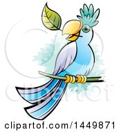 Clipart Graphic Of A Perched Parrot With A Leaf In His Mouth Royalty Free Vector Illustration