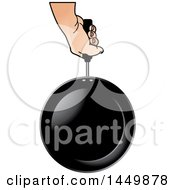 Clipart Graphic Of A Hand Holding A Frying Pan Royalty Free Vector Illustration