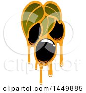 Clipart Graphic Of A Black Olive And Oil Design Royalty Free Vector Illustration