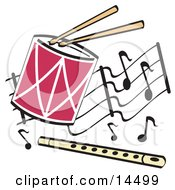 Drumsticks Playing A Drum And A Flute Over A Musical Note Background Clipart Illustration by Andy Nortnik