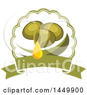 Clipart Graphic Of A Green Olive Oil Design Royalty Free Vector Illustration