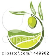 Clipart Graphic Of A Green Olive Design Royalty Free Vector Illustration