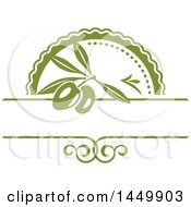 Clipart Graphic Of A Green Olive And Banner Design Royalty Free Vector Illustration by Vector Tradition SM
