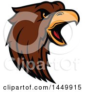 Clipart Graphic Of A Profiled Brown Eagle Mascot Head Royalty Free Vector Illustration by Vector Tradition SM