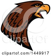 Clipart Graphic Of A Profiled Brown Eagle Mascot Head Royalty Free Vector Illustration