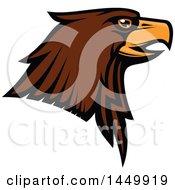 Poster, Art Print Of Profiled Brown Eagle Mascot Head