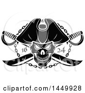Clipart Graphic Of A Black And White Pirate Skull And Crossed Swirds Royalty Free Vector Illustration