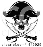 Clipart Graphic Of A Black And White Pirate Skull And Crossed Swirds Royalty Free Vector Illustration by Vector Tradition SM