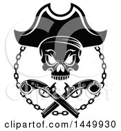 Clipart Graphic Of A Black And White Pirate Skull And Crossed Guns Royalty Free Vector Illustration