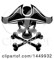 Clipart Graphic Of A Black And White Pirate Skull And Crossbones Royalty Free Vector Illustration