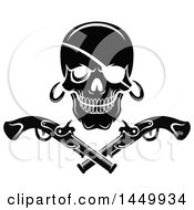 Clipart Graphic Of A Black And White Pirate Skull And Crossed Pistols Royalty Free Vector Illustration