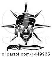 Clipart Graphic Of A Black And White Pirate Skull And Daggar Royalty Free Vector Illustration