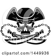 Clipart Graphic Of A Black And White Pirate Skull And Crossed Swords Royalty Free Vector Illustration