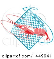 Clipart Graphic Of A Red Shrimp And Netting Royalty Free Vector Illustration by Vector Tradition SM