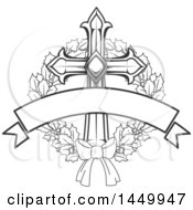 Clipart Graphic Of A Black And White Cross In A Holly Wreath And Blank Banner Royalty Free Vector Illustration