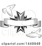 Clipart Graphic Of A Black And White Easter Cross With Doves With A Banner Royalty Free Vector Illustration