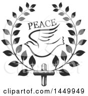 Clipart Graphic Of A Black And White Easter Cross With A Dove In A Laurel Wreath Royalty Free Vector Illustration