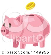 Clipart Graphic Of A Coin Depositing Into A Piggy Bank Royalty Free Vector Illustration