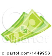 Clipart Graphic Of Green Dollar Bills Cash Money Royalty Free Vector Illustration