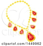 Clipart Graphic Of A Red Ruby And Gold Necklace Royalty Free Vector Illustration by Vector Tradition SM