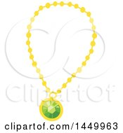 Clipart Graphic Of A Green Emerald And Gold Necklace Royalty Free Vector Illustration by Vector Tradition SM