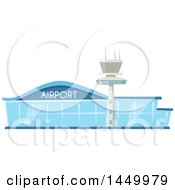 Clipart Graphic Of A Blue Glass Airport Building And Tower Royalty Free Vector Illustration by Vector Tradition SM