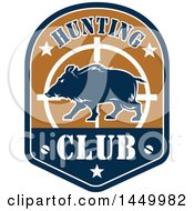 Clipart Graphic Of A Wild Boar Hunting Club Design Royalty Free Vector Illustration