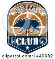 Poster, Art Print Of Wild Boar Hunting Club Design