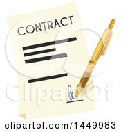 Clipart Graphic Of A Pen Signing A Contract Royalty Free Vector Illustration