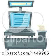 Clipart Graphic Of A Merchant Store Cash Register Royalty Free Vector Illustration