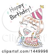 Clipart Graphic Of A Retro Sketched White Girl With A Cake Shouting Happy Birthday Royalty Free Vector Illustration