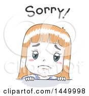Clipart Graphic Of A Retro Sketched White Girl Apologizing Under Sorry Text Royalty Free Vector Illustration