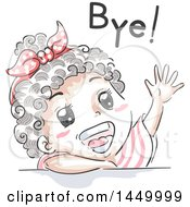 Retro Sketched Black Girl Waving And Saying Bye