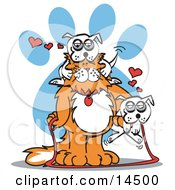 Big Dog And Two Little White Dogs Clipart Illustration